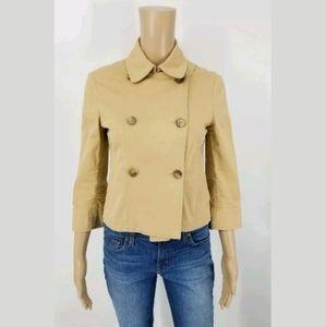 - Theory Jacket Size 2 Tan Cotton Stretch Cr…